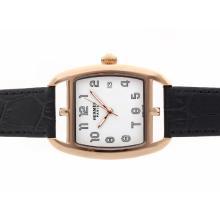 Replique Hermes Cape Cod boîtier en or rose avec cadran blanc-bracelet en cuir - Attractive Hermes Cape Cod montre pour vous 36925