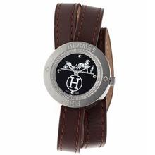 Replique Hermes classique cadran noir avec bracelet en cuir brun-Taille-Dame - Attractive Hermes montre classique pour vous 36923