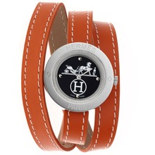 Replique Hermes Classic Black Dial avec cuir orange Strap-Taille-Dame - Attractive Hermes montre classique pour vous 36921