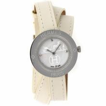 Replique Hermes classique MOP cadran avec bracelet en cuir-Taille-Dame Blanche - Attractive Hermes montre classique pour vous 36920