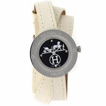 Replique Hermes Classic Black Dial avec bracelet en cuir-Taille-Dame Blanche - Attractive Hermes montre classique pour vous 36919