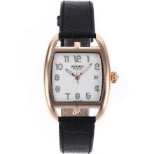 Replique Hermes Cape Cod boîtier en or rose avec cadran blanc-bracelet en cuir - Attractive Hermes Cape Cod montre pour vous 36916