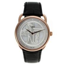 Replique Hermes Arceau Duc Attelé automatique boîtier en or rose avec bracelet en cuir-18K Mouvement plaqué or 36906