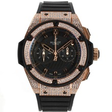 Replik Hublot Big Bang King Chronograph Swiss Valjoux 7750 Movement Diamond Rose Gold Case and Bezel with Black Dial-Rubber Strap – Attractive Hublot Big Bang King Watch for You 30182