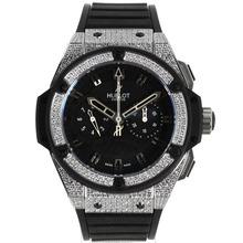 Replique Hublot Big Bang King chronographe suisse Valjoux 7750 Boîtier et lunette Diamant Mouvement avec cadran noir-Bracelet Caoutchouc - Attractive Hublot Big Bang King montre pour vous 30181