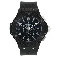 Replique Hublot Big Bang chronographe de travail Noir Etui Carbon Style avec cadran noir-Bracelet Caoutchouc - Attractive Hublot Big Bang Montre pour vous 30130