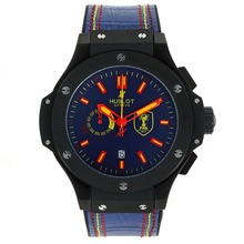 Replique Hublot Big Bang FIFA travail Chronographe PVD affaire avec cadran bleu-bracelet en caoutchouc - Attractive Hublot Big Bang Montre pour vous 30128