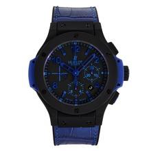 Replique Hublot Big Bang Chrono suisse Valjoux 7750 Mouvement PVD affaire avec des marqueurs noirs Cadran-Bleu et Bracelet - Attractive Hublot Big Bang montre pour vous 30070