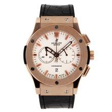 Replique Hublot Big Bang chronographe de travail boîtier en or rose avec cadran blanc-bracelet en caoutchouc - Attractive Hublot Big Bang Montre pour vous 30065