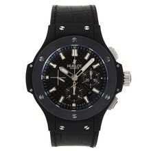 Replique Hublot Big Bang Chrono suisse Valjoux 7750 Mouvement PVD affaire avec fibres Carbon Style Dial Rubber Strap-- Attractive Hublot Big Bang Montre pour vous 30052