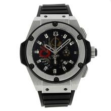 Replique Hublot King Power Alinghi Swiss Chronograph Valjoux 7750 Mouvement avec cadran noir-bracelet gomme 30016