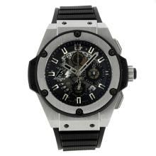 Replique Hublot King Power Formule 1 chronographe suisse Valjoux 7750 Mouvement avec cadran noir-bracelet gomme 30015