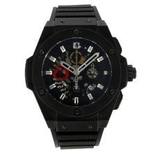 Replique Hublot King Power Alinghi Swiss Chronograph Valjoux 7750 Mouvement PVD affaire avec cadran noir-bracelet gomme 30012