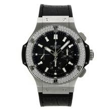 Replique Hublot Big Bang chronographe suisse Valjoux 7750 Mouvement lunette sertie de diamants avec cadran noir - Attractive Hublot Big Bang Montre pour vous 30009