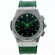 Replique Hublot Big Bang chronographe de travail avec des marqueurs cadran noir-vert et sangle - Attractive Hublot Big Bang Montre pour vous 30006