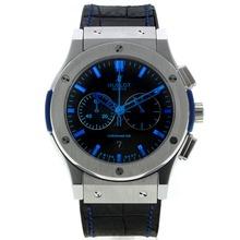 Replique Hublot Big Bang chronographe de travail avec cadran noir-bleu Marqueurs - Attractive Hublot Big Bang Montre pour vous 29986