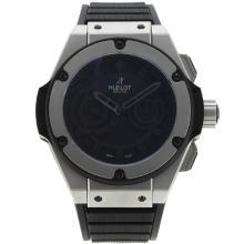 Replique Hublot King Power chronographe suisse Valjoux 7750 Mouvement avec cadran noir-noir Marqueurs 29924