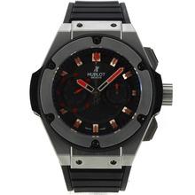 Replique Hublot King Power chronographe suisse Valjoux 7750 Mouvement avec cadran noir-rouge Marqueurs 29923