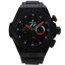 Replique Hublot King Power F1 Édition chronographe suisse Valjoux 7750 Mouvement PVD noir avec marqueurs de bâton Dial-Rouge 29921