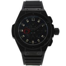 Replique Hublot King Power Alinghi Swiss Chronograph Valjoux 7750 Mouvement PVD affaire avec cadran noir-bracelet gomme 29919