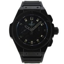 Replique Hublot King Power chronographe suisse Valjoux 7750 Mouvement PVD affaire avec cadran noir-bracelet gomme 29918