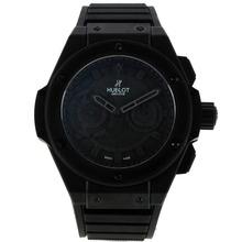 Replique Hublot King Power chronographe suisse Valjoux 7750 Mouvement PVD affaire avec cadran noir-bracelet gomme 29917