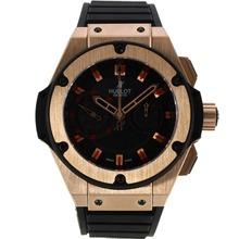 Replique Hublot King Power chronographe suisse Valjoux 7750 Mouvement boîtier en or rose avec cadran noir-bracelet gomme 29915