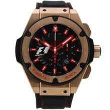 Replique Hublot King Power Formule 1 chronographe suisse Valjoux 7750 Mouvement boîtier en or rose avec cadran noir-bracelet gomme 29913