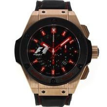 Replique Hublot King Power Formule 1 chronographe suisse Valjoux 7750 Mouvement boîtier en or rose PVD lunette avec cadran noir-bracelet gomme 29912