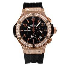 Replique Hublot Big Bang King-Chronographe en or rose diamant et lunette avec cadran blanc-bracelet en caoutchouc - Attractive Hublot Big Bang Montre pour vous 29832