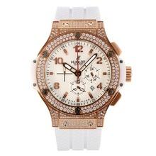 Replique Hublot Big Bang King-Chronographe Diamant boîtier et la lunette avec cadran blanc-bracelet en caoutchouc - Attractive Hublot Big Bang Montre pour vous 29831
