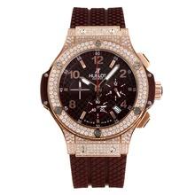 Replique Hublot Big Bang chronographe en or rose de travail Diamant cas avec cadran noir-Nombre Marqueurs - Attractive Hublot Big Bang Montre pour vous 29787