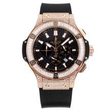 Replique Hublot Big Bang chronographe en or rose de travail Diamant cas avec cadran blanc-blanc sous-cadran - Hublot Big Bang montre séduisante pour vous 29785