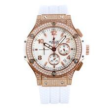 Replique Hublot Big Bang chronographe de travail lunette sertie de diamants avec cadran blanc-Argent Sous-cadran - Hublot Big Bang montre séduisante pour vous 29783