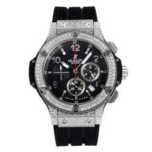Replique Hublot Big Bang chronographe de travail lunette sertie de diamants avec cadran noir-Noir Sous-cadran - Hublot Big Bang montre séduisante pour vous 29779