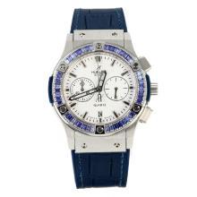 Replique Hublot Big Bang chronographe de travail lunette sertie de diamants avec bracelet en cuir blanc Cadran-Bleu - Attractive Hublot Big Bang King montre pour vous 29772