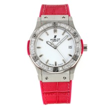 Replik Hublot Big Bang King Working Chronograph Diamond Bezel with White Dial -Red Leather Strap – Attractive Hublot Big Bang King Watch for You 29770