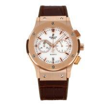 Replique Hublot Big Bang chronographe en or rose de travail lunette sertie de diamants cas avec bracelet en cuir brun cadran blanc-- Attractive Hublot Big Bang Montre pour vous 29756