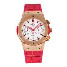 Replique Hublot Big Bang chronographe de travail boîtier en or rose avec cadran blanc-bracelet en cuir rouge pastèque - Attractive Hublot Big Bang Montre pour vous 29754