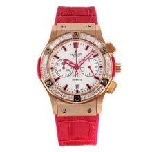Replique Hublot Big Bang chronographe en or rose de travail lunette sertie de diamants boîtier avec cadran blanc-bracelet en cuir rouge pastèque - Attractive Hublot Big Bang Montre pour vous 29753