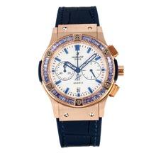Replique Hublot Big Bang chronographe en or rose de travail lunette sertie de diamants boîtier avec cadran blanc-bracelet en cuir bleu foncé - Attractive Hublot Big Bang Montre pour vous 29751
