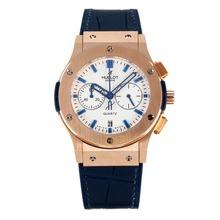 Replique Hublot Big Bang chronographe de travail boîtier en or rose avec cadran blanc-bracelet en cuir bleu foncé - Attractive Hublot Big Bang Montre pour vous 29750
