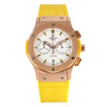 Replique Hublot Big Bang chronographe de travail boîtier en or rose avec bracelet en cuir cadran blanc-jaune - Attractive Hublot Big Bang Montre pour vous 29749
