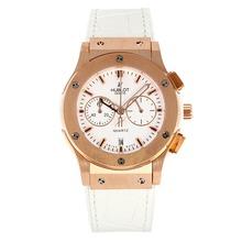 Replique Hublot Big Bang chronographe de travail boîtier en or rose avec bracelet en cuir blanc Cadran-Blanc - Belle Montre Hublot Big Bang pour vous 29746