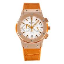Replique Hublot Big Bang chronographe de travail boîtier en or rose avec bracelet en cuir cadran blanc-Camel - Attractive Hublot Big Bang Montre pour vous 29744