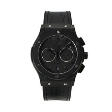 Replique Hublot Big Bang travail Chronographe PVD affaire avec bracelet en cuir noir Cadran-Black - Belle Montre Hublot Big Bang pour vous 29730