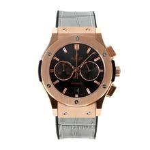 Replique Hublot Big Bang chronographe de travail boîtier en or rose avec bracelet en cuir noir Cadran-Grey - Belle Montre Hublot Big Bang pour vous 29722