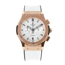 Replique Hublot Big Bang chronographe de travail boîtier en or rose avec bracelet en cuir blanc Cadran-Blanc - Belle Montre Hublot Big Bang pour vous 29721