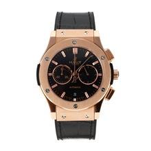 Replique Hublot Big Bang chronographe de travail boîtier en or rose avec bracelet en cuir noir Cadran-Black - Belle Montre Hublot Big Bang pour vous 29720