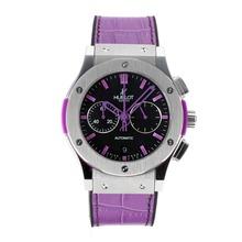 Replique Hublot Big Bang chronographe de travail avec bracelet en cuir noir Cadran-Purple - Attractive Hublot Big Bang Montre pour vous 29716
